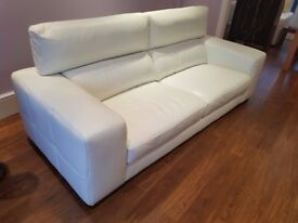 Beautiful White Italian Leather 3 seater Sofa and Armchair, excellent condition