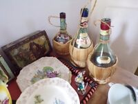JOBLOT OF VINTAGE ITEMS DISPLAY 1960sWINE BOTTLES /OLD FOLEY/COLLECTIBLE TINS/ CHINA
