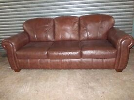 Large Brown Leather 3+2-seater Suite