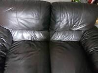 2 DFS brown leather sofas