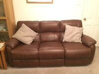 *18 months old* Real leather suite with sofa and armchair