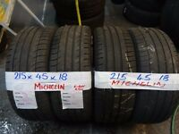 SET OF 4 MATCHING 215 45 18 MICHELINS 6mm TREAD £80 PAIR SUP & FITD £150 SET open sat 9am-5pm