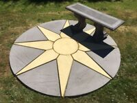 New Patio Bench & Star Circle : 1.8m dia Paving Slabs : Can Deliver