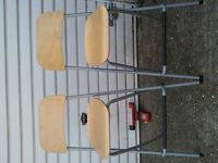 "4 breakfast bar stools folding ""28 inches from flour to seat wood and metal £45 ovno"