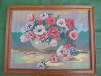 Flowers in a Bowl - Oil Painting in a Wooden Frame