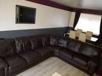 Large dark brown italian soft leather right hand corner suite
