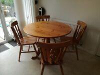 Circular Pine Table & 4 Chairs