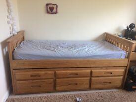 Pine single storage bed and mattress