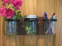 Triple Mason jar decorative storage / display piece