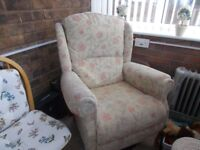 HIGH BACK WING CHAIR IN VERY GOOD CONDITION