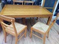 Oak dining table and 4 chairs 150cm by 95cm