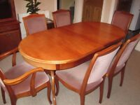 DINING ROOM TABLE AND CHAIRS WITH SIDEBOARD AND DISPLAY CABINET