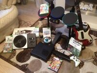 Black Xbox 360 with Kinect+ kinect adventure game, Band hero, DJ hero2 +DJ game,skylanders