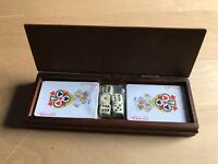 Playing cards, dice in wooden box, new