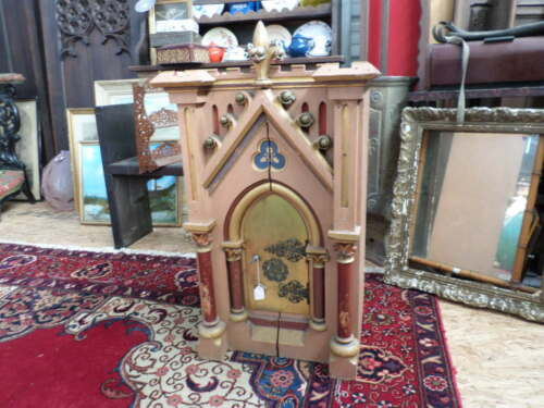 French Antique Religious Polychrome Tabernacle 1800s