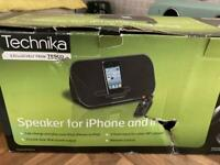Technika speaker and charging dock for iPhone iPod and iPad (not the new charger connection)