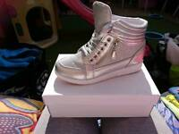 Brand new silver high top trainers size 5.5