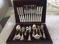 Silver plated kings pattern 44 piece cutlery set in box