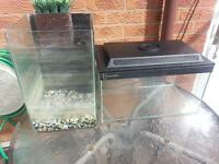 2 Fish tanks / Aquariums ..a Bargain ! 18 inch tank with lid and a fluval chi . tropical / goldfish