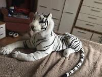 black and white stuffed tiger