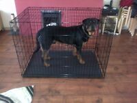 X Large Double Door Dog Crate with tray (black)