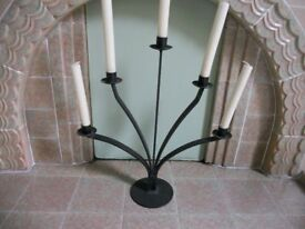 Contemporary Five Arm Wrought Iron Candle Holder Candelabra