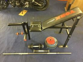 YORK WEIGHTS BENCH, BAR, DUMBELLS AND WEIGHTS