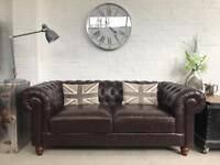 Brown 3 seater Chesterfield sofa. Can deliver