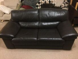 Quality 2 Seater brown leather sofa / Settee - £85
