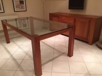 High quality dining table in solid cherry with glass top inset.