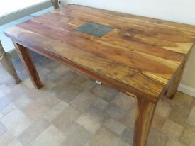 Rustic dining table, reclaimed solid wood - handmade