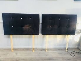 Pair of Single Headboards in Black Velvet & Diamonte