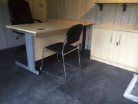 Office Furniture - Desk, cupboard, shelving unit and chairs. Maple. Good quality.