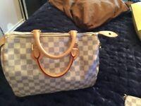 Louis Vuitton speedy 30 with matching chain purse