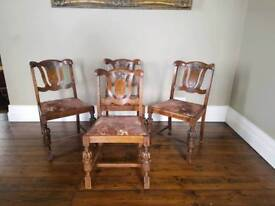 4x Carved Solid Oak dining chairs