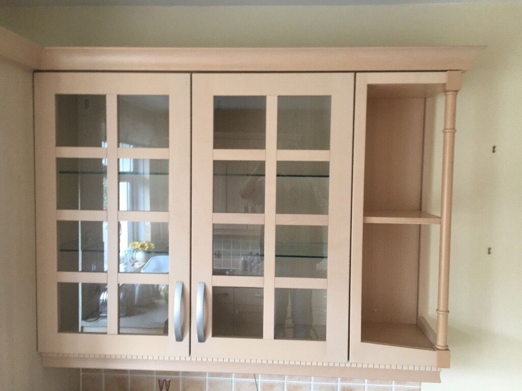light beech wood kitchen display wall cupboard with glass doors and four glass shelves in. Black Bedroom Furniture Sets. Home Design Ideas