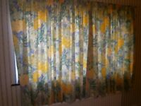 Floral curtains, complete with curtain track and includes fittings and hooks