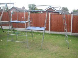 TP Challenger2 climbing frame + platforms, tent, handrails, jungle run, fireman's pole, scramble net