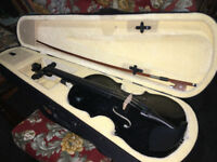 Attractive 4/4 Full Size Beginners Black Acoustic Violin Set With Case Bow