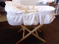 clair de lune white moses basket with stand