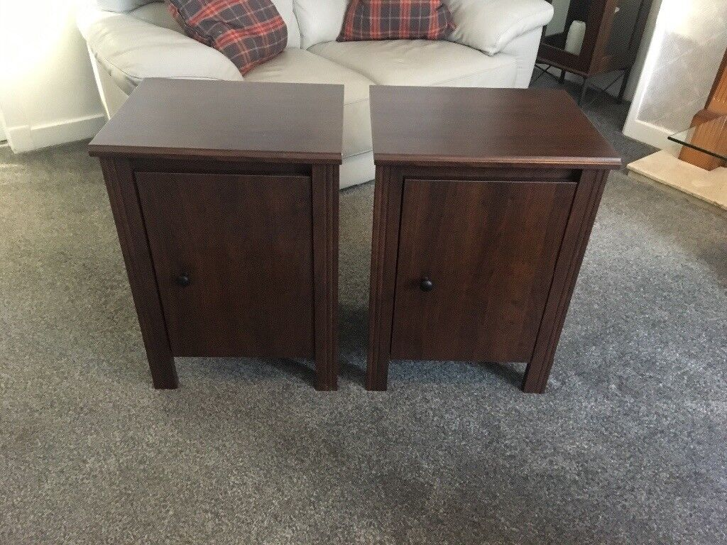 Dark Wood Bedside Cabinets Or Side Tables Pair Ikea In Buckhaven