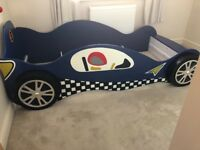 Haani Speed Racer Single Blue Racing Car Bed Frame