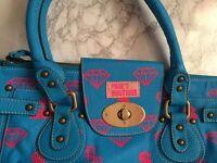 PAULS BOUTIQUE LARGE BLUE DIAMOND TWISTER BAG (AS SEEN ON PARIS HILTON) RRP £70