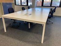 2 sets of white 8-pod/bench/hot desk office business desk/tables inbuilt power supply £510 each