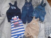 5 x Baby boys dungarees 3-6 months