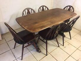 Ercol table colonial refectory table and 6 chairs