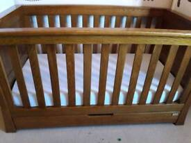 Mamas and Pappas Famiglia cot bed - medium oak - solid wood