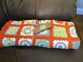 Handmade crocheted pram blanket 70cm x90cm