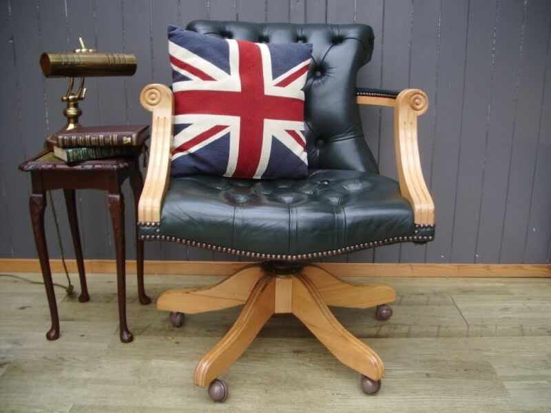 Stunning Green Leather Chesterfield Captains Chair  for sale  Broughton, Cheshire