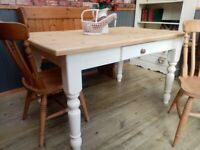 Stunning 4.5ft Pine Handmade Table, Pew and Chair Set